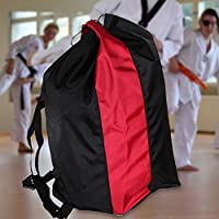 Aramox Gimnasio Mochila con Cordones Sanda Taekwondo Protectores Herramientas de Engranajes Hombros Bolso de Nylon(Negro)