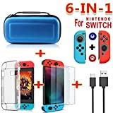 Yiwa for Nintend Switch Travel Carrying Bag Screen Protector Case Charging Cable Blue