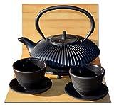 Giardino zen in ghisa nero stile giapponese Tetsubin teiera tazze e sottopentola rotondo–0.8litri