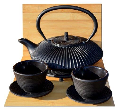 Giardino zen in ghisa nero stile giapponese tetsubin teiera tazze e sottopentola rotondo-0.8litri