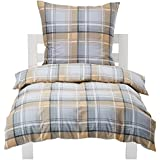 AmazonBasics - Juego de funda de edredón nórdico y de almohada (franela), diseño de cuadros grises, 135 x 200 cm y 1 funda 80 x 80 cm