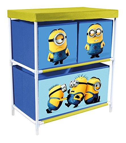 p:os 25704 Minions Spielzeugregal mit 3 Boxen, ca. 53 x 30 x 60 cm (Bobs Möbel Kommoden)