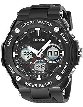 ETEVON Herren 'Kapitän' Outdoor Sport Uhren mit Schwarzem Silikonband, Wasserdicht LED Licht Analog Digital Armbanduhr...