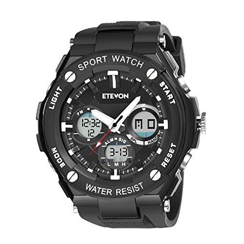 ETEVON Herren 'Kapitän' Outdoor Sport Uhren mit Schwarzem Silikonband, Wasserdicht LED Licht Analog Digital Armbanduhr für Männer