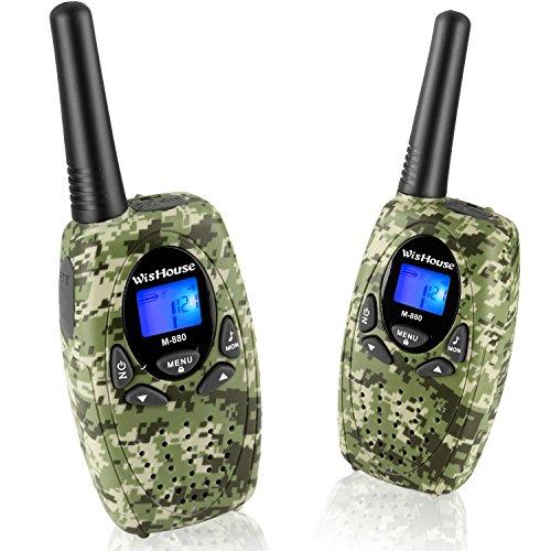 WisHouse Two Way Radios für Familienreisen, PMR446 Walkie-Talkies mit Mic Vox Clip 0.5W 2.5mm Jack 3 Meilen Reichweite 8 Kanäle (M880 Camo 2-Pack) 2,5 Mm Clip