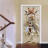 YINGER 3D Stereo Tür Aufkleber Giraffe Wohnzimmer Schlafzimmer Renoviert Kreativ Dekoration Selbstklebend , Bild farbe