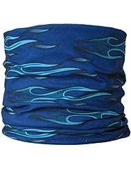 Braga para el cuello, pañuelo de microfibra multifunción, diseño de llamas azul