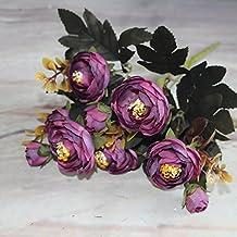 Vivid 6ramas Otoño artificial falso Peonía Flores Home habitación decoración de novia de hortensias Real Touch