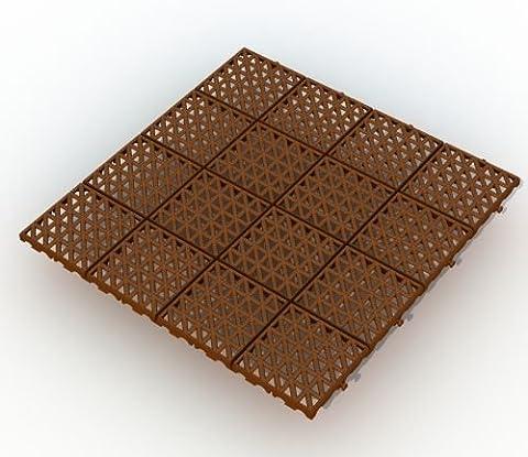 Bodengitter, Balkonfliese, Rasenfliese, Bodenrost 333 x 333 x 10,5 mm, braun