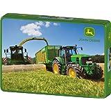 Schmidt Spiele 55583 - John Deere, 7530 Premium Traktor mit 7950i Feldhäcksler, 200 Teile Puzzle, in Metalldose