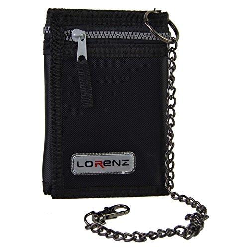 Lorenz Sportbörse, mit Klettverschluss, mit Sicherheitskette, dreifach gefaltet, für Herren und Jungen Schwarz Schwarz