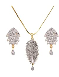 IGP Fashion Jewellery Gold Plated Chain With American Diamond Scintilating Frond Shaped Alluring Pendant With...