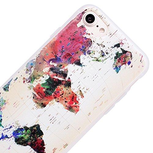 WE LOVE CASE iPhone 7 / 8 Cover 3D Macchia Sollievo Ragazza Sexy iPhone 7 / 8 4,7 Custodia Blu Case Silicone Soft Flessibile Elegant Belle Protettiva , Antiurto Ultraslim Bumper , TPU Gel Gomma Morbi map