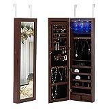 mecor Hängend Schmuckschrank Spiegelschrank Schmuckregal Türmontage Wandmontage mit LED Beleuchtung abschließbar einstellbar Schmuckkasten in braun