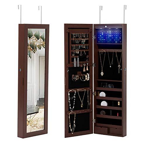 mecor Hängend Schmuckschrank Spiegelschrank Schmuckregal Türmontage Wandmontage mit LED Beleuchtung abschließbar einstellbar Schmuckkasten in braun -
