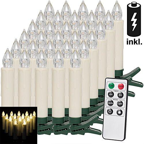 30 LED Weihnachtsbaumkerzen mit Fernbedienung I Warmweiß I Dimmfunktion inkl. Batterien I Weihnachtskerzen Weihnachtsdekoration I Kabellos I Timerfunktion I Weihnachtsbaumbeleuchtung Modellauswahl