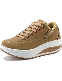 51051bec3846e Solshine Damen Fashion Plateau Schnürer Sneakers mit Keilabsatz Walkmaxx  Schuhe…
