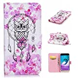 Samsung Galaxy J3 2016 case holster wallet credit card slot features pu leather magnetic off stent function 3D cartoon pattern design protective DECHYI case owl