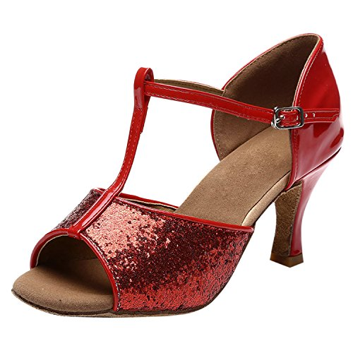 Oasap Women's Peep Toe Sequins Latin Ballroom Dancing Shoes Red