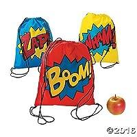 Superhero Drawstring Backpacks - 12 ct by Party Supplies