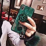 SevenPanda Samsung A8 Plus 2018 Case Ständer, Luxus Fellknäuel Weich Gummi Stoßstange Bling Diamant Glitter mit Airbag Ständer Halter/Handschlaufe für Mädchen (Grün, Samsung Galaxy A730 2018)