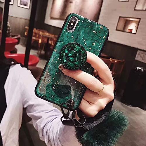 SevenPanda Samsung S8 2017 Case Ständer, Luxus Fellknäuel Weich Gummi Stoßstange Bling Diamant Glitter mit Airbag Ständer Halter/Handschlaufe für Mädchen (Grün, Samsung Galaxy S8 2017)