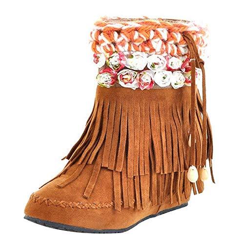 Fuxitoggo Frauen Schnee Stiefel, Damenmode Lässige Stiefel Kurze Schlauchstiefel Wildleder Fransen Stiefel Flache Ferse Schnee Stiefel Damen Bequeme Schuhe (Farbe : Gelb, Größe : 5 UK)