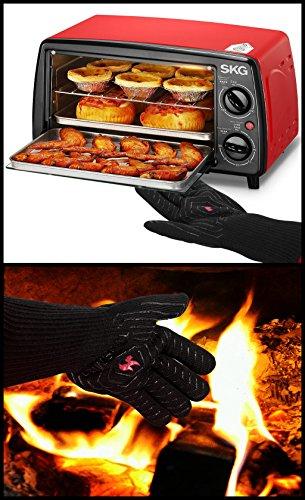 51FWCupLZSL - Feuerhandschuhe,Grillhandschuhe Feuerfest,Ofenhandschuhe,Grillhandschuhe Hitzebeständig,Grillzubehör Handschuhe mit Einer Grillschürze