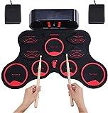 WMDXTM Ricarica a Mano Kit Rullo di Tamburi convenienti Giocattoli Musicali elettronici Tamburo USB Durevole Incorporato Stereo Speaker Strumento Musicale Pieghevole