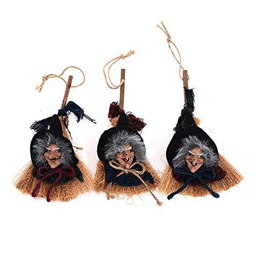 Kostüm Alten Guy - CDD Halloween-Dekorationen Hexenbesen Pendant Ghost Festival Bar Retro Broom Horror Lustig Haunted Haus Schmücken Requisiten Karneval Weihnachtsfeier Dekoration 3Stk