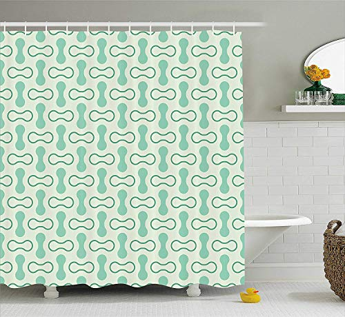 tgyew Mint Shower Curtain, Abstract Rounded Shapes Vertical and Horizontal Shabby Simplistic Retro, Fabric Bathroom Decor Set with Hooks, 72x72 inches, Pale and Jade Green Teal -