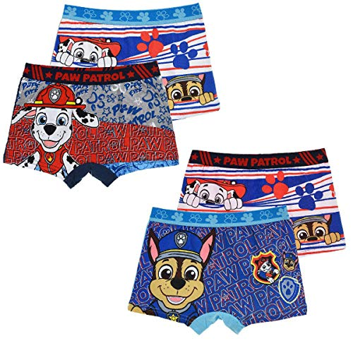 Paw Patrol Jungen 4 er Pack Boxershorts Unterhosen mit unterschiedlichen Motiven (Farbmix 2, Gr. 6-8 Jahre (Herstellergröße 116-128))