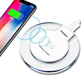 ivoler Caricabatterie Wireless, Portatile Premium Qi Caricabatterie Senza Fili Wireless Charger Charging Pad con Indicatore LED per Samsung Galaxy Nokia Lumia LG - Bianco
