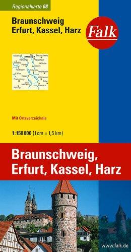Falk Regionalkarte Braunschweig - Erfurt - Kassel - Harz 1:150 000