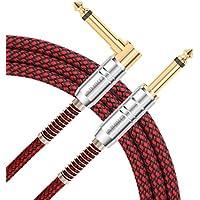 AIHIKO Câble Jack Guitare 3m 6.35mm Instrument Cordon AMP Câble 1/4 Tressé TS Mono Droite à Jack Droit avec Fiches Or pour Clavier Électrique Basse (Tweed Noir Rouge)