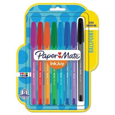 Papermate, confezione da 8colori diversi inkjoy, 100penne a stile, 1.0mm, penne papermate
