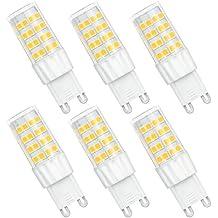 SHINE HAI bombillas LED G9 de 6W equivalentes a Lámparas halógenas de 45W,Blanco frío 5000k,450LM,AC 220-240V,51x SMD 2835,Pack de 6