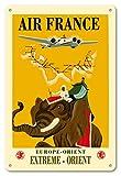 22cm x 30cm Vintage enseignes en métal - L'Europe - L'Orient - Extrême-Orient - Air France - Éléphant avec Howdah (chariot) - Affiche ancienne vintage Companie aérienne Poster aviation de Ray Bret-Koch c.1938