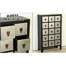 DonRegaloWeb - Mueble madera con 15 cajones negro/plata de estilo oriental