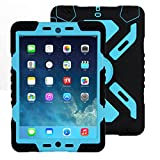 ipad 2/3/4 Hülle, Meiya multifunktionale Silikon stoßfest wasserdicht Drop robuste Fall, Heavy Duty Case, Kindersichere Hülle Kind Schutzhülle Geschenk für Apple ipad 2/3/4 schwarz/blau