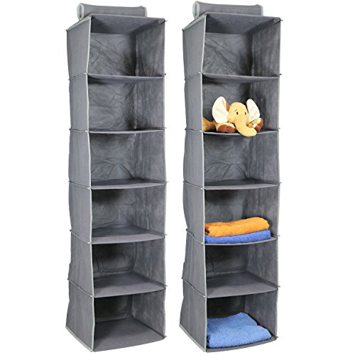 com-four 2X Hänge Aufbewahrung, Hängeregal in grau, Aufbewahrungssystem zum aufhängen, 120 x 30 x...