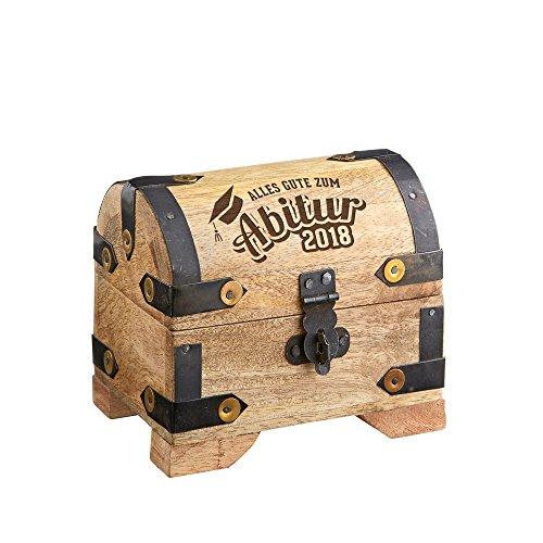 Casa Vivente – Helle Schatztruhe mit Gravur – zum Abitur 2018 – Verpackung für Geldgeschenke - Schmuckkästchen - Spardose - Aufbewahrungsbox aus Holz – Geschenk-Idee zum Abi - 10 cm x 7 cm x 8,5 cm