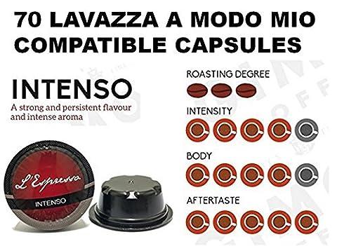 70 Lavazza A Modo Mio Capsules compatibles INTENSE