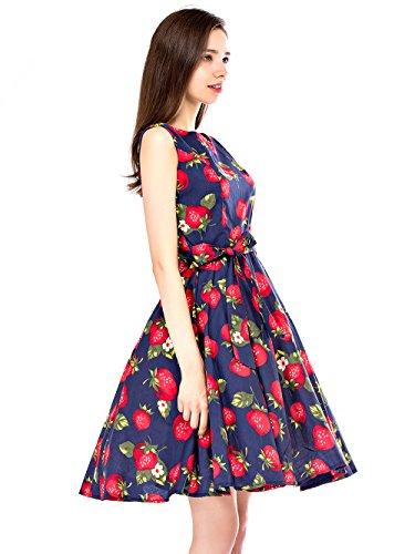 ... EnjoyBridal® 1950s Vintage A-Linie Ohne Arm Blumen Erdbeeren Muster  Retro Schwingen Rockabilly Kleid ...
