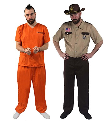 Halloween Freund Kostüm - ILOVEFANCYDRESS Sheriff +STRÄFLINGS Paare KOSTÜM VERKLEIDUNG=Freunde Karneval Theme=Fasching-Karneval Halloween JUNGGESELLENABSCHIED = GEFANGENER-MEDIUM+Sheriff-Large