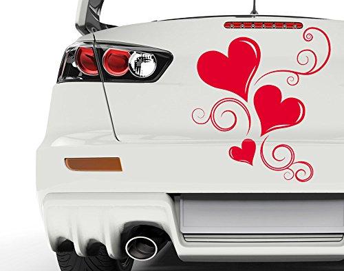 Autoaufkleber Herzen bsm042_a Car-Tattoos Auto Tuning Car Styling 60 x 68 weiß matt