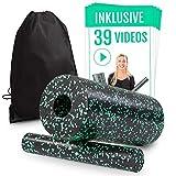 Faszienrolle Set 2 in 1 inkl. 39 Trainingsvideos | Massagerolle für ein straffes Bindegewebe | Foam Roller hautfreundlich & frei von Weichmachern