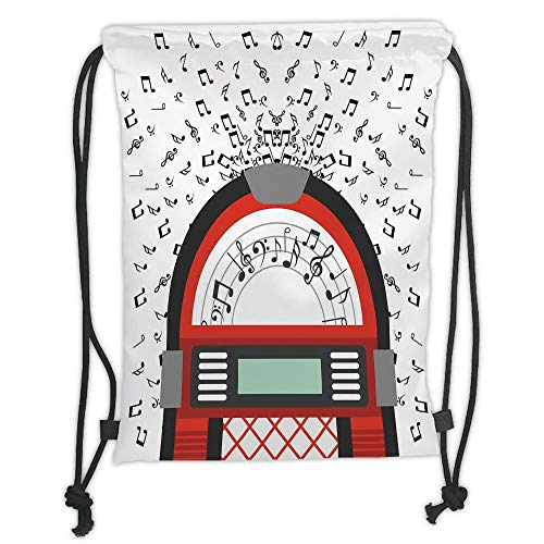 GONIESA Drawstring Sack Backpacks Bags,Jukebox,Cartoon Party Music Antique Old Vintage Retro Box with Notes Artwork,Red Black Grey and White Soft Satin,5 Liter Capacity,Adjustable String Closur -