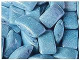 15 Stück Carrier Bead - Tschechische gepresste Glasperlen in Form von Kissen 9x17 mm, zwei Löcher, Chalk White Baby Blue Luster