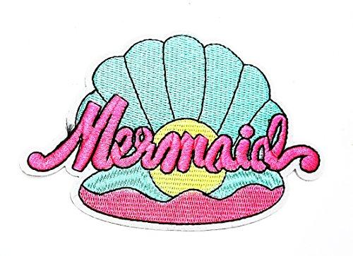 rabana Ariel Meerjungfrau Seashell Pearl Sommer Strand Cartoon Kinder Patch für Heimwerker-Applikation Eisen auf Patch T Shirt Patch Sew Iron on gesticktes Badge Schild Kostüm